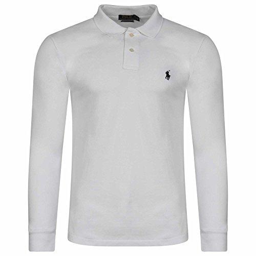 ralph-lauren-t-shirt-a-manches-longues-uni-uni-col-chemise-classique-homme-blanc-m