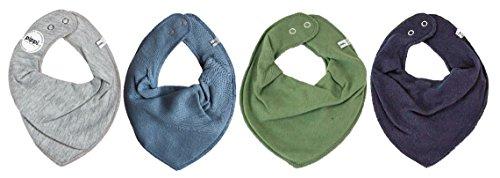 Produktbild Pippi * 4er Set Baby Dreieckstuch Halstuch Lätzchen 4 Stück * grau blau oliv navy