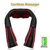 Massagegerät Misiki Kabellose Schultermassagegerät Elektrische Shiatsu mit Wärmefunktion Abschaltautomatik und 3D-Rotation Massagebälle Wideraufladbar Nackenmassagegerät für Muskelschmerzen zu lindern