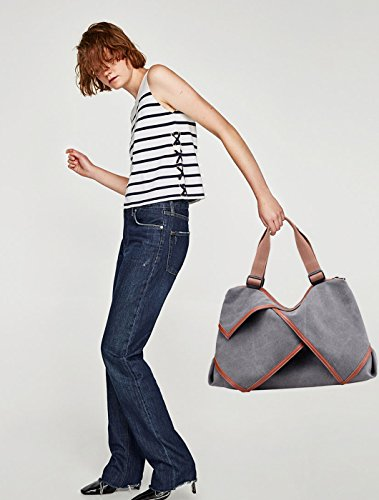 NICOLE&DORIS Borse da donna in Tela di canapa borse da spalla Borsa da Crossbody Bag da shopping Borsa grande Big Bag Viola Chiaro Grigio