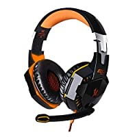 Botetrade G2000 Game Headphone Stereo Surrounded Sound Earphone with Led Light for Computer PC Gamer Orange