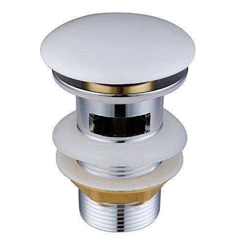 Diseño Pulsador-Tapón, Hapilife Pop-Up Válvula Desagüe Clic-Clac Ranurada Moderna para Lavabo, con Rebosadero, Cromado con Tapa Cerámica, Blanco