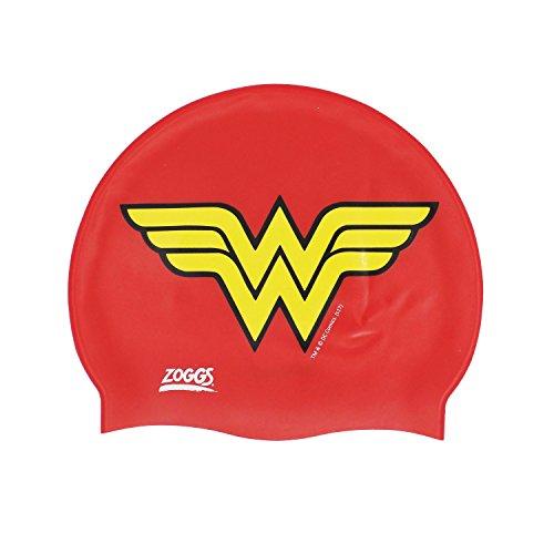 Zoggs Kids 'Wonder Woman–Gorro de Natación, Color Rojo/Amarillo, Talla única