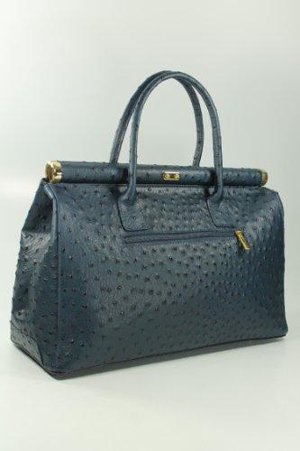 Belli Bag XXL Leder Henkeltasche Handtasche Damen Ledertasche Umhängetasche - Farbauswahl - 38x26x18 cm (B x H x T) Blau strauss