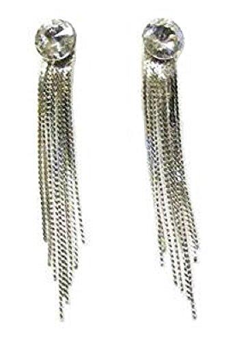 Crystal Diamante Ston Silber Ton Drop Ohrringe Fancy Kleid Party Geschenk Ball Kostüm Schmuck (Teenage Kostüm Schmuck)