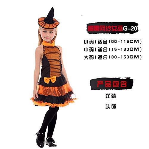 AGF+YUOP Halloween Weihnachten Kostüm Hexe Vampir Fledermaus Cosplay Kürbis Kostüm Schneewittchen Rock Kostüm, Orange Schwarz Mesh Hexe - Hexe Aus Schneewittchen Kostüm