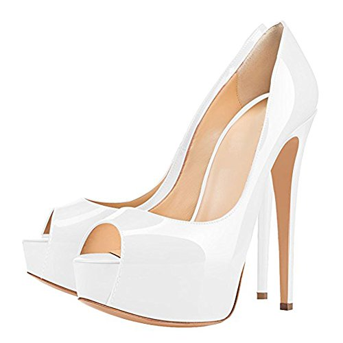 Damenschuhe Pumps Peep Toe High-Heels Stiletto mit Plateau Rutsch Hochzeit Weiß EU40 0M8gM