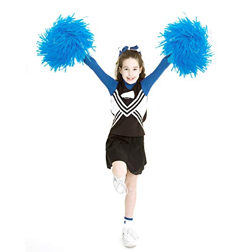 Blauer Cheerleader Kinder Kostüm - 12er Pack Cheerleading Pom Poms, 9.8 Zoll Sports Dance Cheerleader Plastik Cheerleader Cheerleading für Kinder, geruchlose Handblumen Cheerleader Pompons für Party Dance Sports Team Spirit Cheering