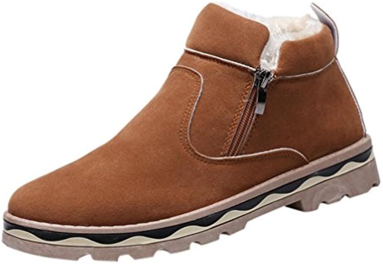 Landfox Hombre Invierno Cuero Warm Snow Cool Sneakers Inglaterra Zip Shoes Botines
