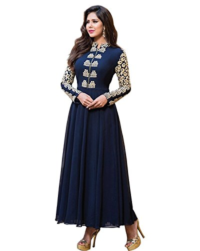 Purva Art Womens Latest Circular Salwar Suit (PA_1918_Navy Blue_Color_Embroidery_Work_Georgette_Wedding_Gown_)