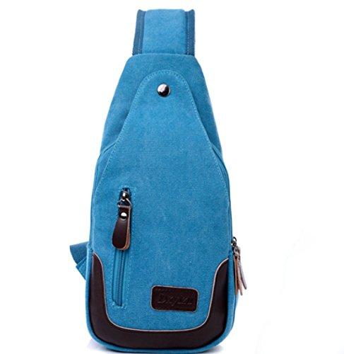 BULAGE Taschen Männer Im Freien Reiten Leinwand Mode Brustbeutel Multifunktional Freizeit Geldbeutel Schulter Rucksack Tasche Blue