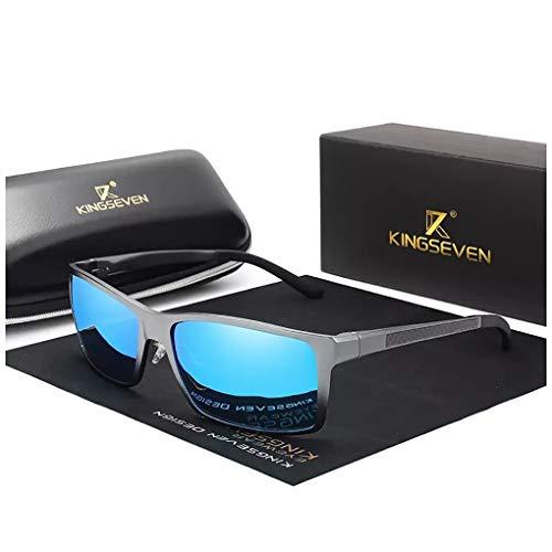 KINGSEVEN Verstellbare Sonnenbrille, 2019, rechteckig, polarisiert, UV400, ultraleicht, Al-Mg, (Gun/Blue), Medium