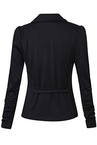 Le Maniche Lunghe Risvolto Slim Fit Solido Formale Ufficio Breve Blazer Black