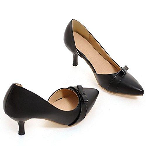 COOLCEPT Femme Elegant Bout Ferme Pointue Petit Talon Escarpins Bas A Enfiler Chaussures D'Orsay Avec Bow Noir