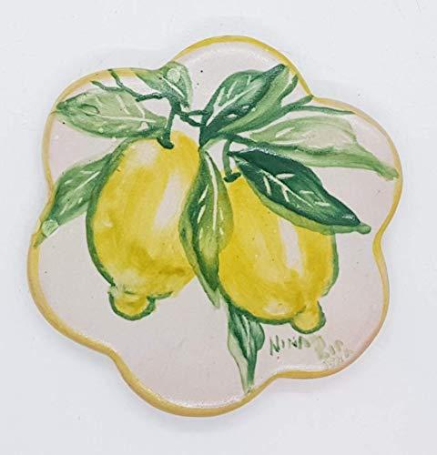 Sottocaffettiera Sottopentola Linea Limoni Realizzato e dipinto a mano Le Ceramiche del Castello Made in Italy Pezzo Unico dimensioni 12,5 x 12,5 centimetri