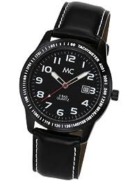 MC Timetrend , Herren-Armbanduhr ganz in Schwarz (Zifferblatt, Gehäuse und Lederband) Analog Quarz 25545