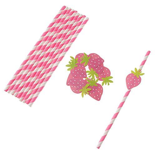 (FLAMEER 10x Niedliche Papierstrohhalme Papiertrinkhalme Party Supplies für Tee Cocktail und Getränke - Erdbeeren)