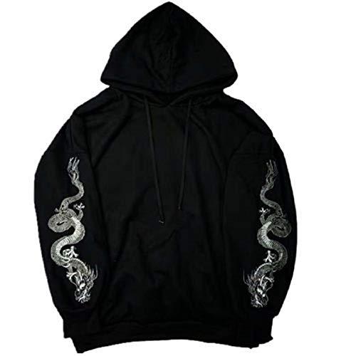 ZJSWCP Sweat-Shirt Nouveau Harajuku Hoodies Dragon Broderie Gothique Chandail À Manches Longues Sweat Femmes Outwear,One-Size