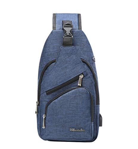 BSTcentelha, Schulter-Umhängetasche für Frauen und Männer, leichte Tasche zum Wandern und Reisen, Tagesrucksack mit USB Lade-Schnittstelle (Blau)