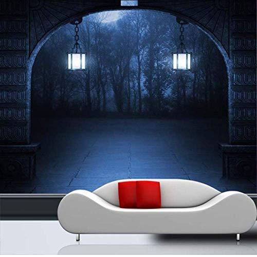 Pbldb Benutzerdefinierte Fototapete Halloween Thema Tapete Horror Dunkel Mystery Unheimlich Eingang Gang Flur Flur Wandbild Tapete-250X175Cm