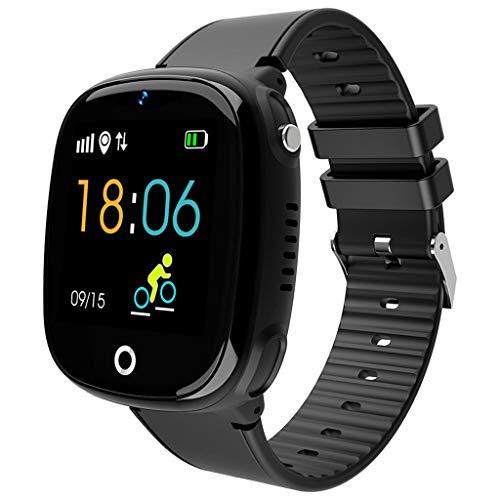 Full-featured Remote (HHJEKLL Intelligentes Armband Kinder-Farbdisplay Smart Watch Phone GPS-Tracker Schlafüberwachung Positionierung wasserdicht Schrittzähler Multifunktionsuhr, schwarz)