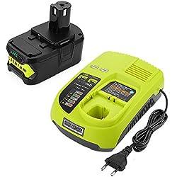 Powilling 18V 5,0Ah Li-ion Remplacement de Batterie + Chargeur pour Ryobi 18V ONE + P108 P107 P104 P105 P102 outils P103