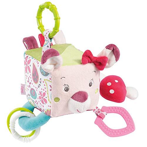 Fehn 076479 Activity-Würfel Sweetheart - Motorikspielzeug zum Aufhängen - Für Babys und Kleinkinder ab 0+ Monaten - Maße: 10 x 10 cm - Mädchen Spielzeug Autositz