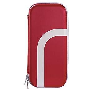 Hama Multi-Tasche mit Stand-Funktion für Nintendo Switch (Hardcase Schutz-Hülle inkl. Aufsteller und Zubehör-Netzfach für Spiele, Eingabe-Stifte, usw.) Konsolen Hartschalen Schutzhülle metallic rot