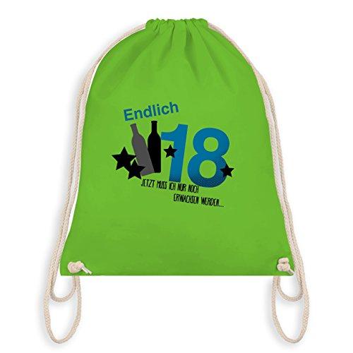Geburtstag - Endlich 18 Blau - Turnbeutel I Gym Bag Hellgrün