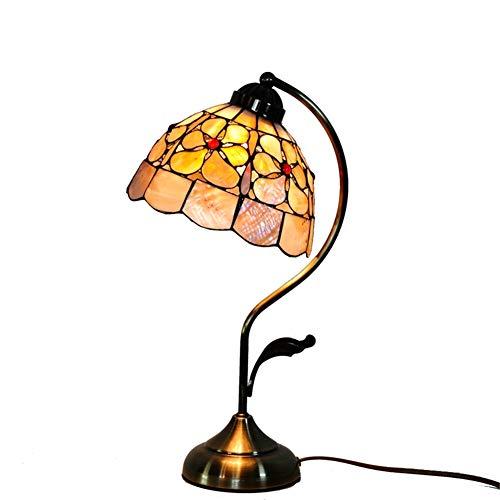 TYYW Tiffany-Stil Schreibtischlampe, Glasmalerei Pearl Flower Shell-Stil Tischlampen Breite 8 Zoll Höhe 17 Zoll für Wohnzimmer antiken Schreibtisch neben Schlafzimmer (Shell 635)