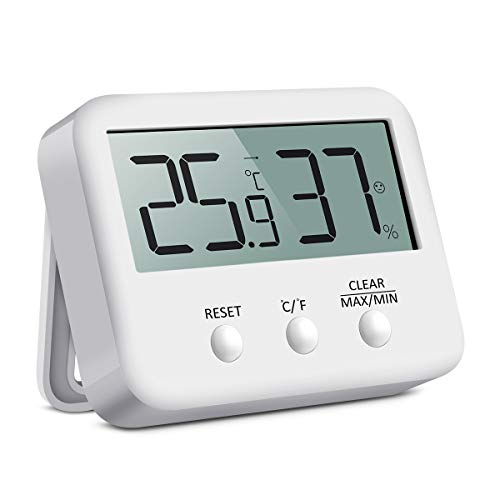 AMIR Digitales Hygrometer, Innen-Wetter-Thermometer, Hygrometer, °C/°F Schalter, LCD-Bildschirm, MIN/MAX Aufzeichnungen, für Lager, Zuhause, Büro, Gewächshaus, Babyzimmer weiß (Wetter-aufzeichnungen)