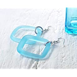 Gin Bottle Earrings - Recycled Mini Bombay Sapphire Bottle Danglers - Sea Glass Finish