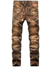 Pantalones Vaqueros Hombre Rotos Biker Jeans Slim Fit Ajustados Elásticos 885790483805