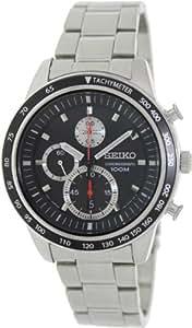 Seiko - SNDD85P1 - Montre Homme - Quartz Chronographe - Cadran Noir - Bracelet Acier Gris
