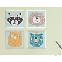 4er Poster Set von CristalPaintin Kinder Bild Set +Kinderzimmer +Babyzimmer Wandbild | 4 Stk. 30x30 cm