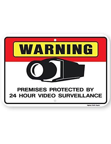 Eugene49Mor Achtung Premises geschützt 24Stunde Video Surveillance Schild (Horizontal) 45,7x 61cm 3m Diamond Grade Prismatic Reflektierend. von