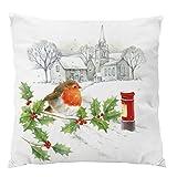 Sweetheart -LMM Weihnachts-Kissenbezug für Sofa, Bett, weicher Plüsch, Bedruckt, Weihnachtsmann, Dekoration für Weihnachten, 45,7 x 45,7 cm D