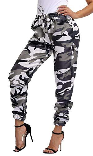 Vertvie Damen Haremshose Pumphose Sommerhose Freizeithose Hosen Camo Cargo Hosen Freizeithosen Military Army Combat Camouflage Pants(Grau, M) -