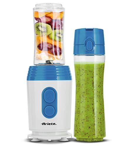 Ariete 572 - Batidora de vaso individual para llevar Drink&Go, 350 W, para zumos frutas y verduras, permite picar hielo, color blanco y azul