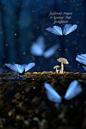 Journal Paper & Guitar Tab Notebook: Blue Butterflies & Mushrooms - 6x9