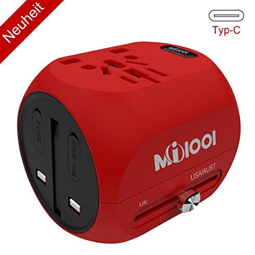 Reiseadapter, Internationale netzadapter,USB- und Typ C-Anschluss für USA,AU,Asien,EU,UK und über 150 Länder