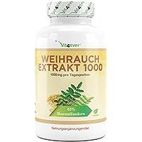 Weihrauch Extrakt - 360 Kapseln - 1000 mg pro Tagesportion (2 Kapseln) - mind. 65% Boswellia-Säure - 100% Boswellia Serrata ohne Zusatzstoffe & Füllstoffe - Laborgeprüft - Vegan - Premium Qualität - Vit4ever
