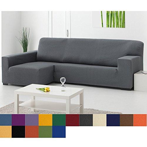 Funda Chaise Longue Elástica Modelo Libia, Color Gris, Medida Brazo DERECHO – 240-280cm (Mirándolo de frente)