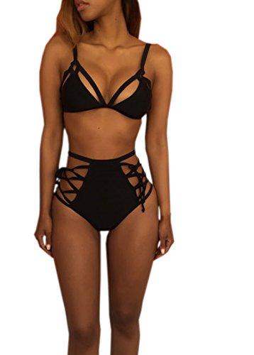Bathing Suit Reizvolle Tiefer V Ausschnitt Schlinge Weste Frauen Stylische Crop Top Und High Waist Bandage Bikinihose Skinny Stretch Beach Pant Einfarbig Slim Zweiteilig Set Schwarz