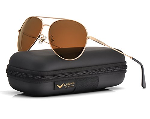LUENX Polarized Sunglasses for Men & Women with Case-UV400 Brown Lens Metal Gold Frame 59mm