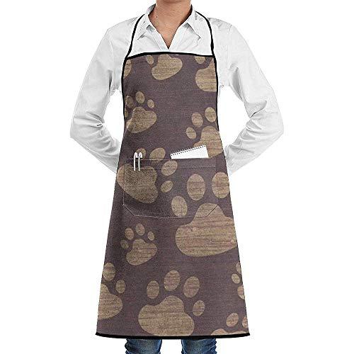 Kostüm Zum Verkauf Mops - UQ Galaxy Schürze,Mops Hund Fußabdrücke Pfote Textur Schürze Spitze Adult Chef einstellbar Lange voll schwarz Kochen Küche Schürzen Lätzchen mit Taschen zum Basteln Garten BBQ