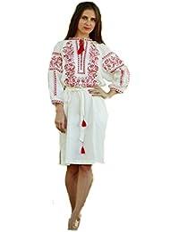 Bordado Vestido Largo Blanco para Mujer. vyshyvanka. Ucrania bordar vestido