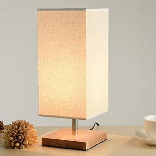 GXCX Tischlampe modernen minimalistischen Holztisch Lampe Stoff Lampenschirm Massivholz Dekoration LED Tischlampe Schlafzimmer Studie Nacht dekorative Beleuchtung-Square -