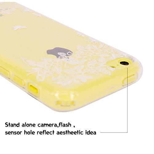 Caselover Amour Liquide Sablier Etui Coque Souple TPU pour iPhone 6s Mode Sable Ultra Slim Soft Clair Case Couverture pour Apple iPhone 6s / 6 (4.7 pouces) Transparent Strass Mouvant Housse Protection Fleur et Papillon