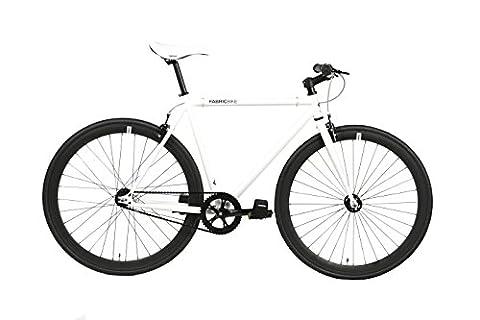 FabricBike- Vélo Fixie Blanc, Fixed Gear, Single Speed, Cadre Hi-Ten Acier, 10Kg (Space White & Black, S-49)